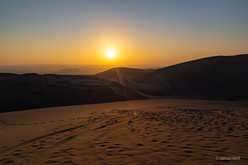 Sunset over the sand dunes near Huacachina