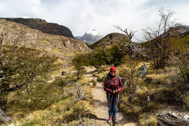 Marta hiking (in the background would be Cerro Torre if there were no clouds)