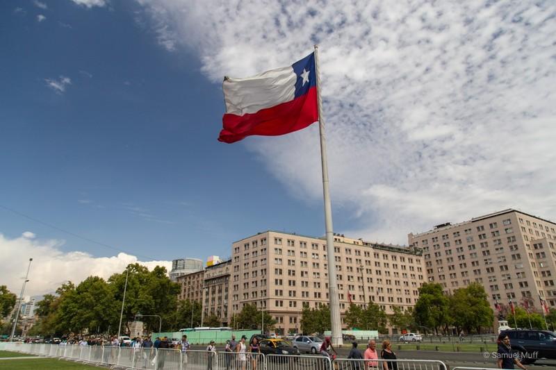 Chilean Flag in front of Palacio de La Moneda