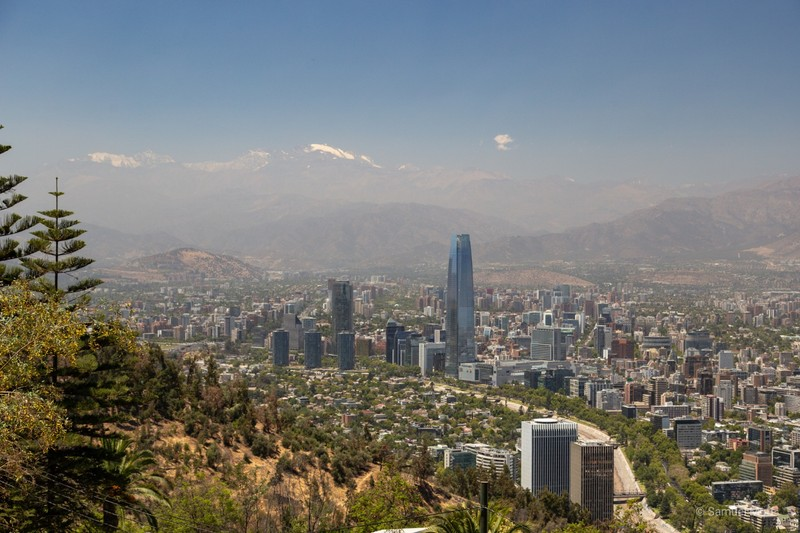 Santiago with Andes in the background, seen from Cerro San Cristóbal