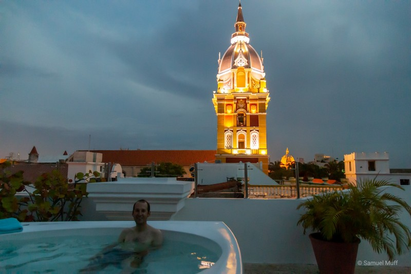 Sam in our AirBnB's rooftop whirlpool in the center of Cartagena