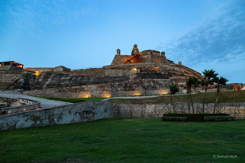 Castillo San Felipe de Barajas in the evening