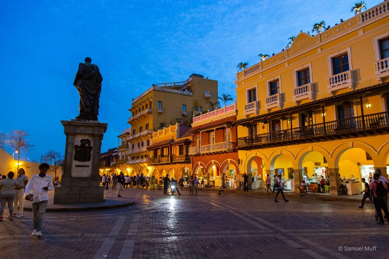 Colonial houses in Cartagena's old town in the evening