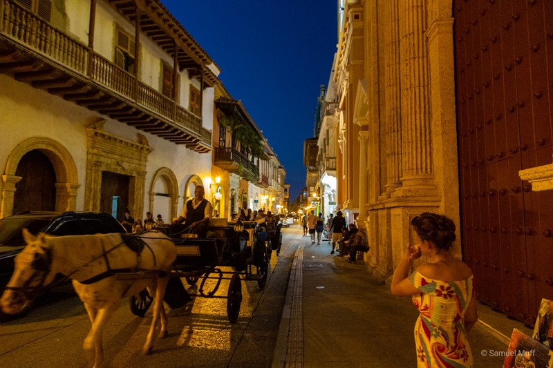 Marta walking through the old town of Cartagena at night