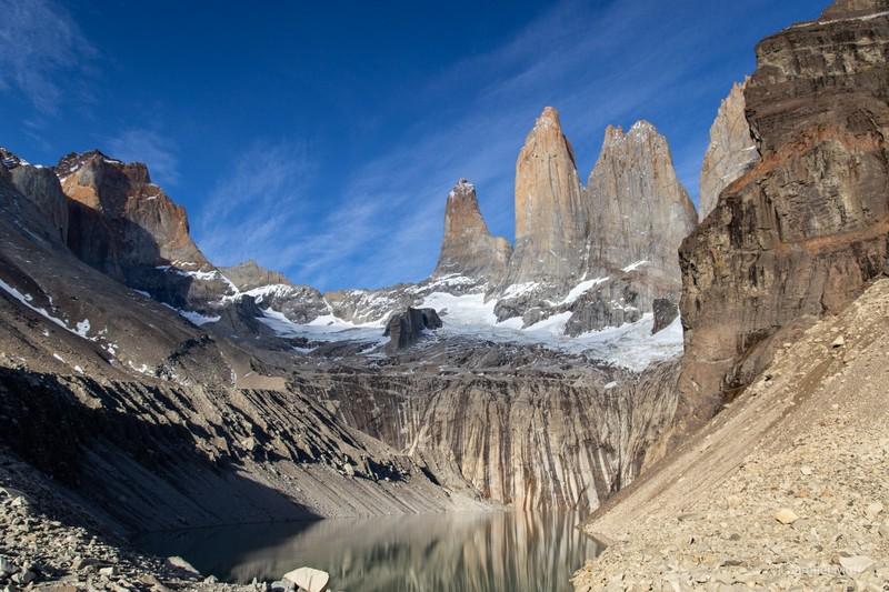 Torres del Paine peaks and Lago Torres