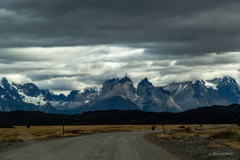 View back to Los Cuernos from the gravel road out of Parque Nacional Torres del Paine
