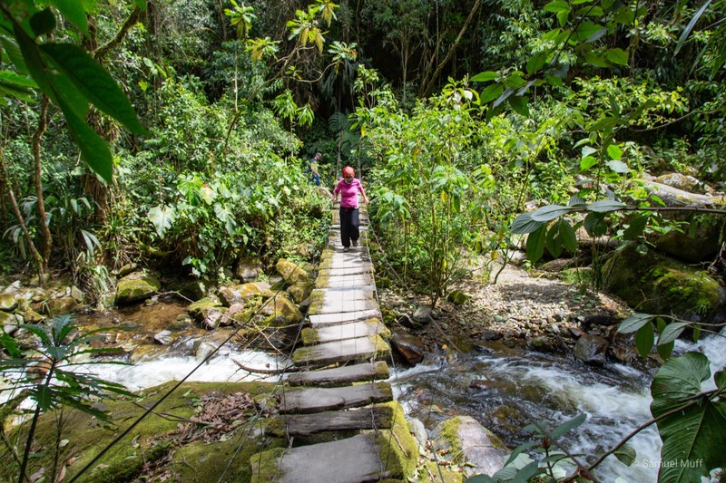 Marta crossing a bridge in the Cocora valley