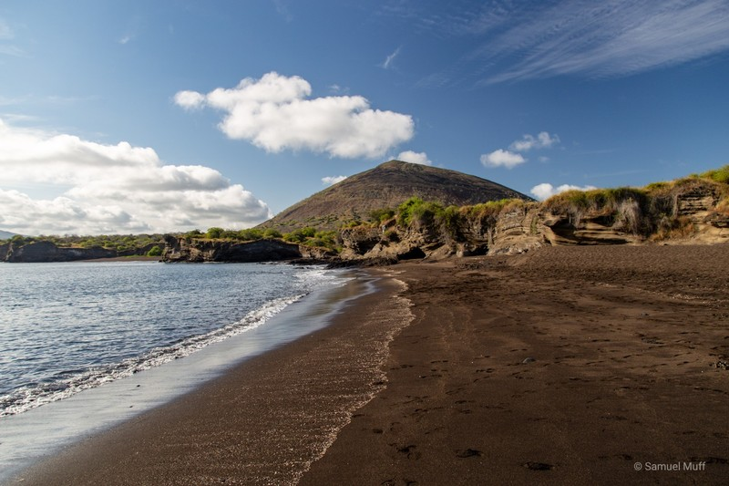 Black sand beach at Puerto Egas on Santiago Island