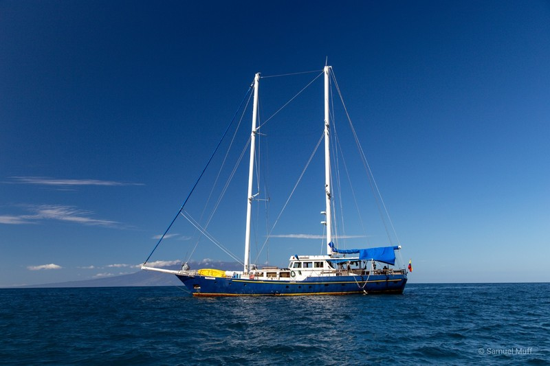 The Beagle anchoring in front of Isabela Island