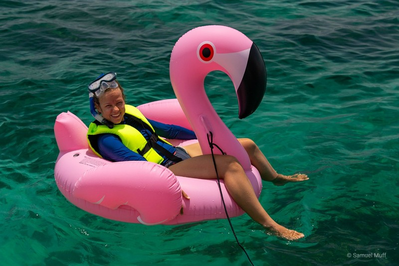 Marta on an inflatable pink flamingo in the Rosario islands