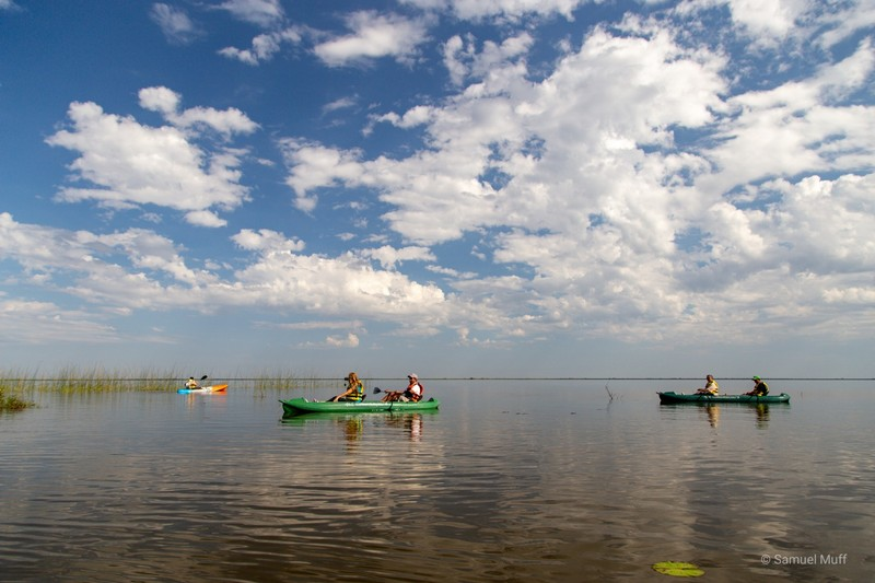 Kayaks on the lagoon