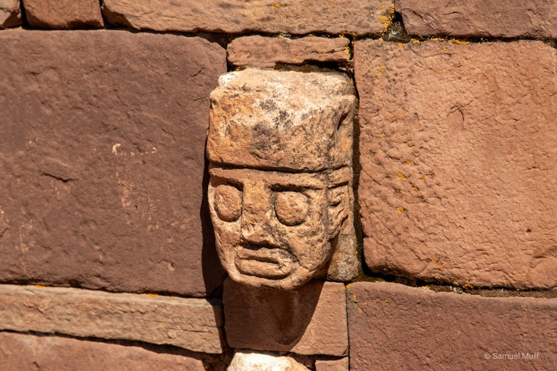 Human face in stone at the Tiwanaku archaeological site