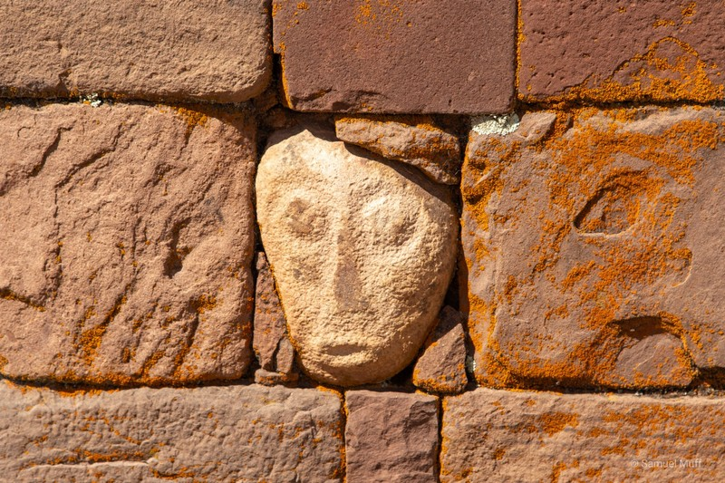 Alien face in stone at the Tiwanaku archaeological site