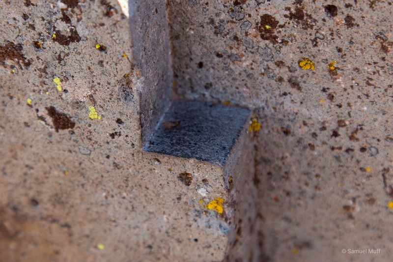 Close-up of precise stone cut at the Tiwanaku archaeological site