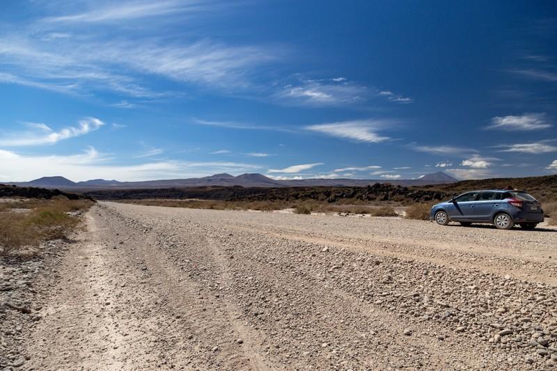 Our car on an unpaved segment of Ruta Nacional 40 between Chos Malal and Malargüe