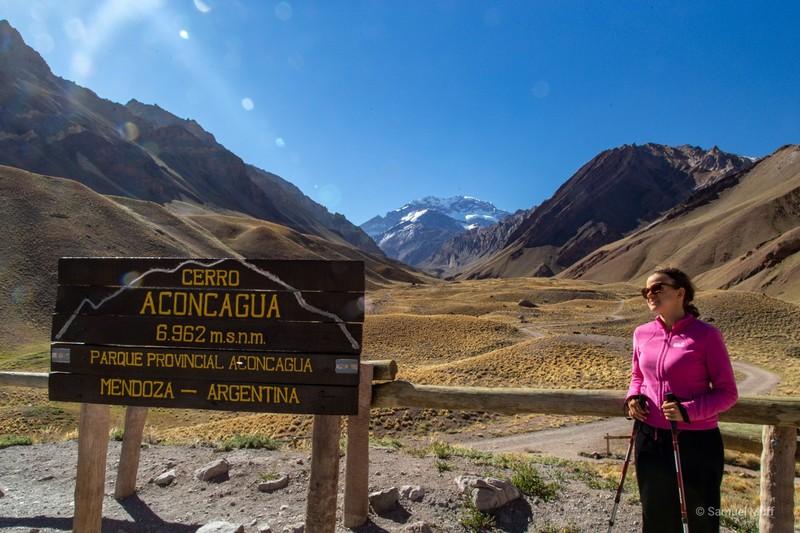 Marta in front of Cerro Aconcagua (6962m)