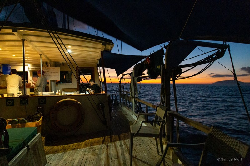 On deck of The Beagle at sunset
