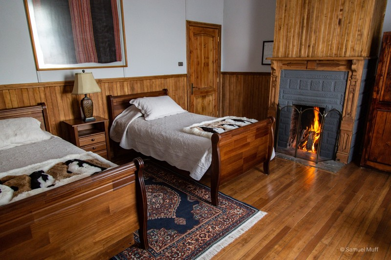 Our room with a fire place at the estancia in Tierra del Fuego