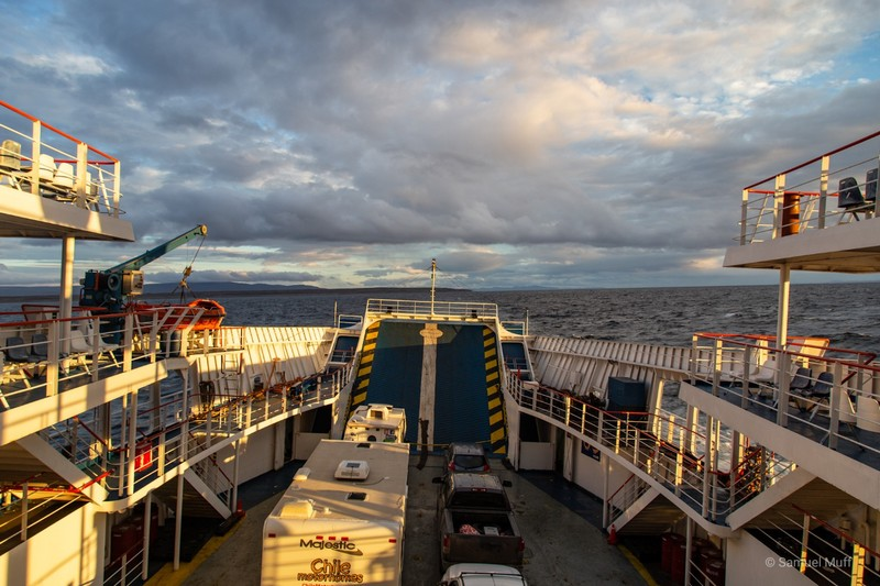 Car ferry on the Strait of Magellan between Porvenir and Punta Arenas
