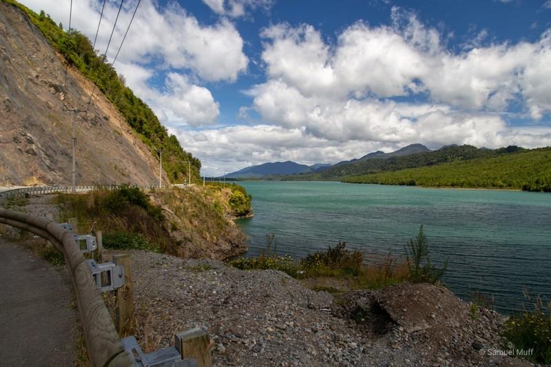 Carretera Austral running along a fjord near Puyuhuapi