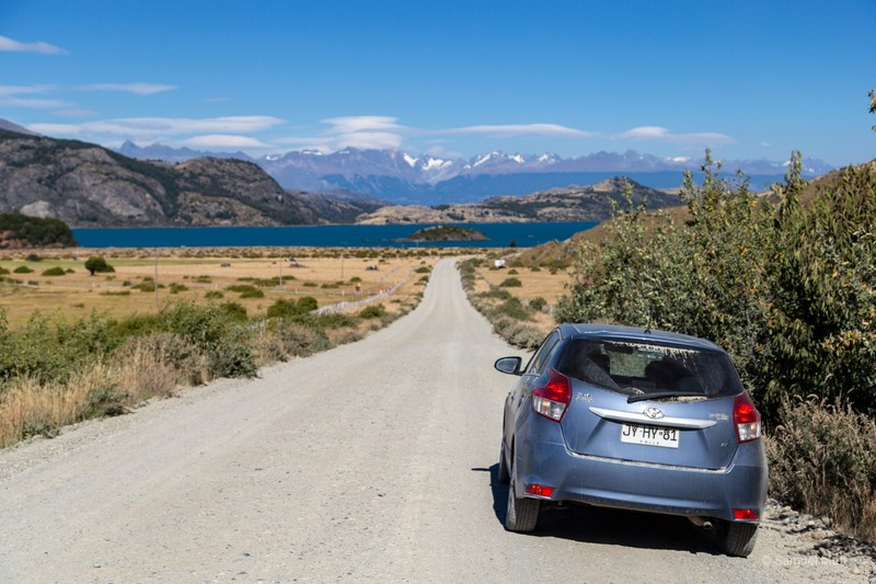 Our car on the Carretera Austral, approaching Lago General Carrera