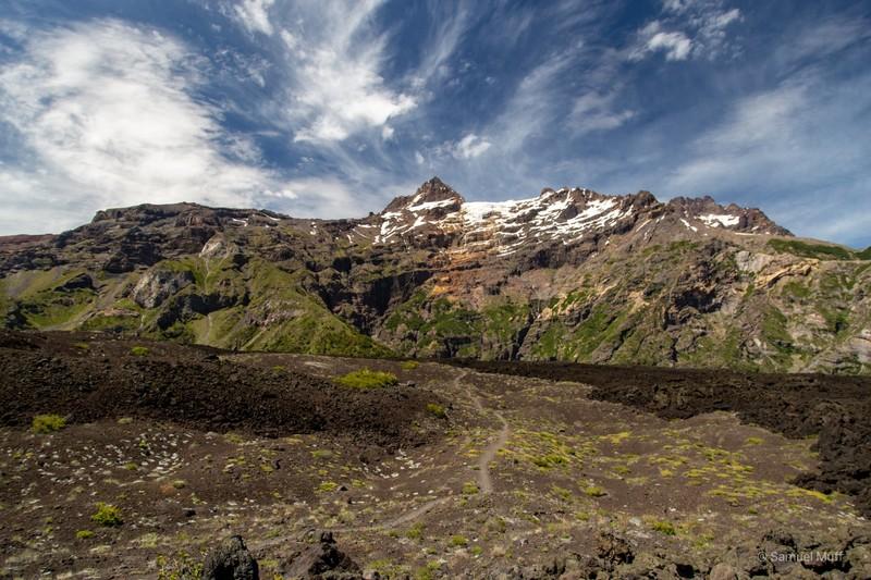 Hanging glacier in Parque Nacional Laguna del Laja
