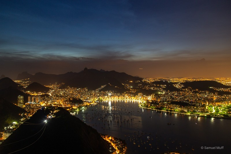 Rio de Janeiro by night, seen from Sugarloaf mountain