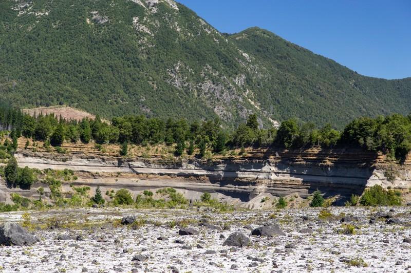 Stratas of different volcanic erruptions visible in Parque Nacional Conguillío