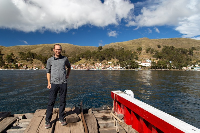 Sam on a ferry crossing the Strait of Tiquina