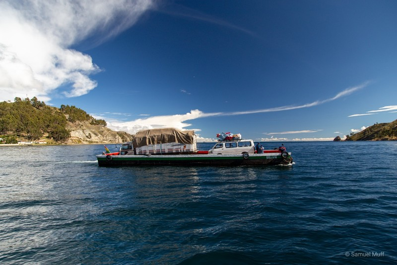 Car ferry crossing the Strait of Tiquina