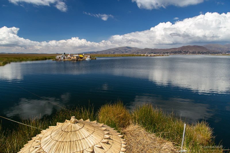 View over Lake Titicaca from the floating island where we stayed