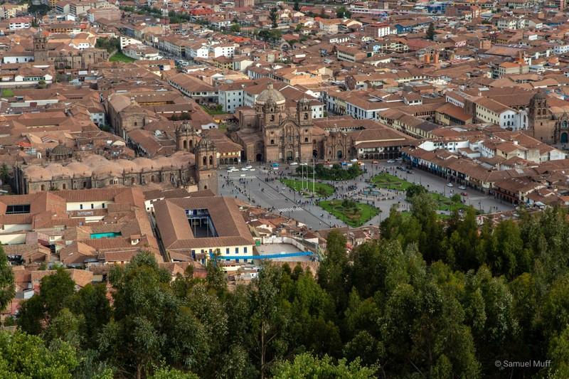 Main plaza of Cusco, seen from Saqsaywaman