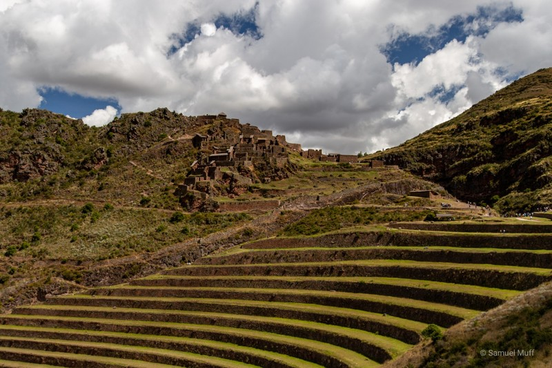 Terraces and ruins at the Inca site in Pisac