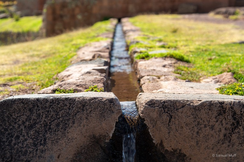 Still functioning water channel at the Inca ruins of Pisac