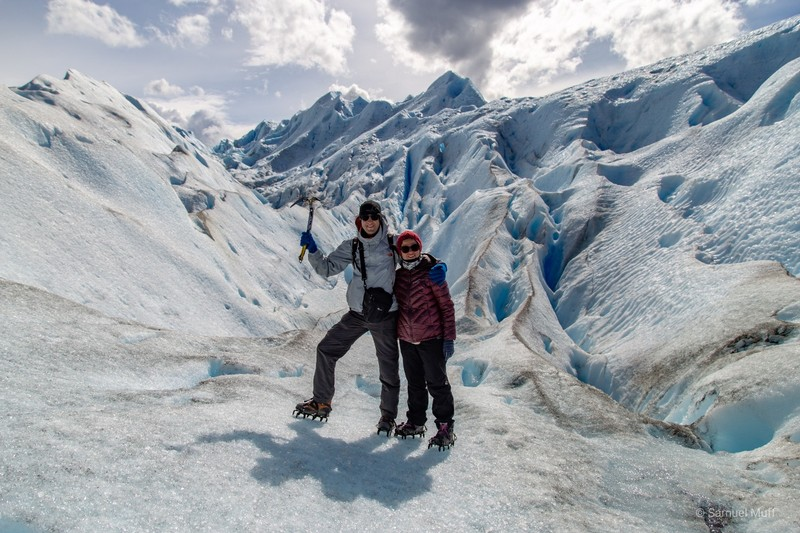 Sam and Marta with crampons on Perito Moreno glacier