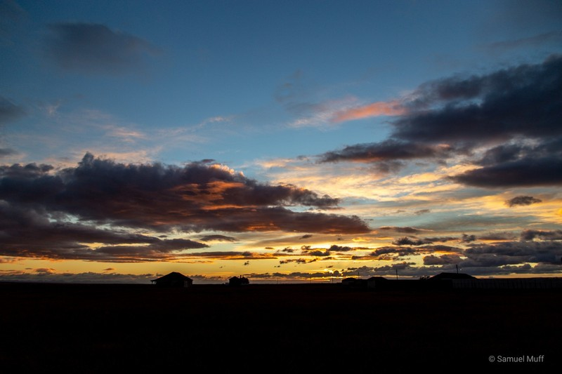 Sunset over our estancia in Tierra del Fuego