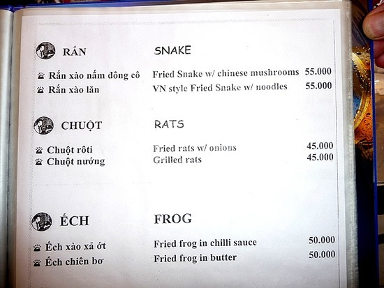 Menu  in Can Tho - Anyone for Rats ? !