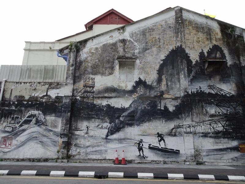 Mural - old tin mining scene