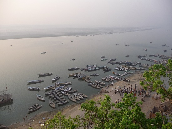 Ganges from Guest House Rooftop Early Morning 3