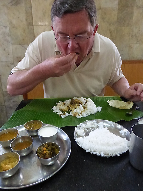 Eating a south Indian meal (at Marmalla Bhavan)