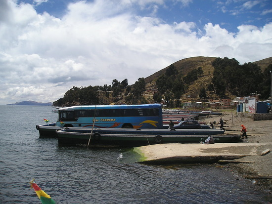Copacabana to La Paz - Bus across straights