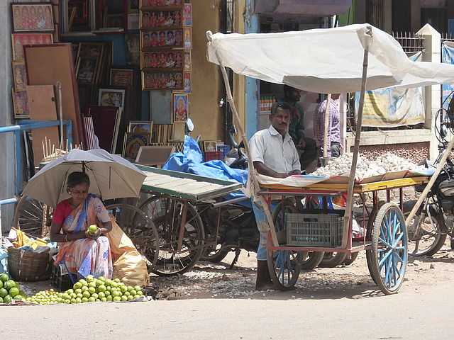 Around Town - fruit and petal sellers
