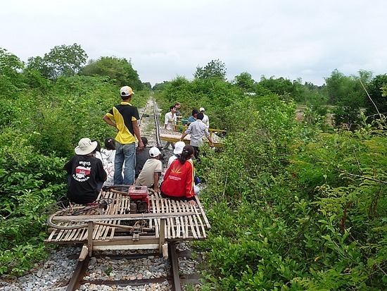 Bamboo train - Passing each other !!