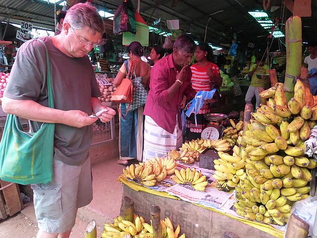 Market - Alan buying bananas