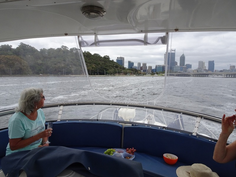 Boat outing up Swan river - from the cockpit