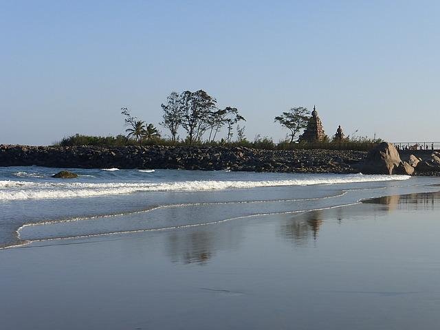 Mamallapuram Shore Temples from fishermen's beach