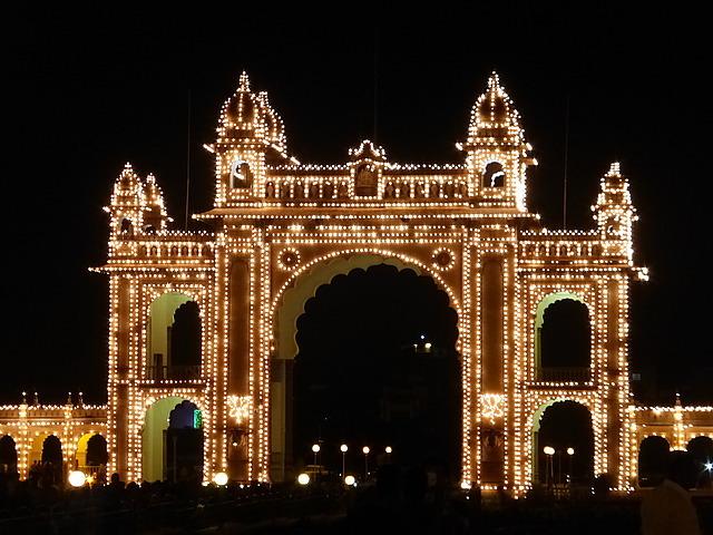 Mysore Palace alight - East entrance