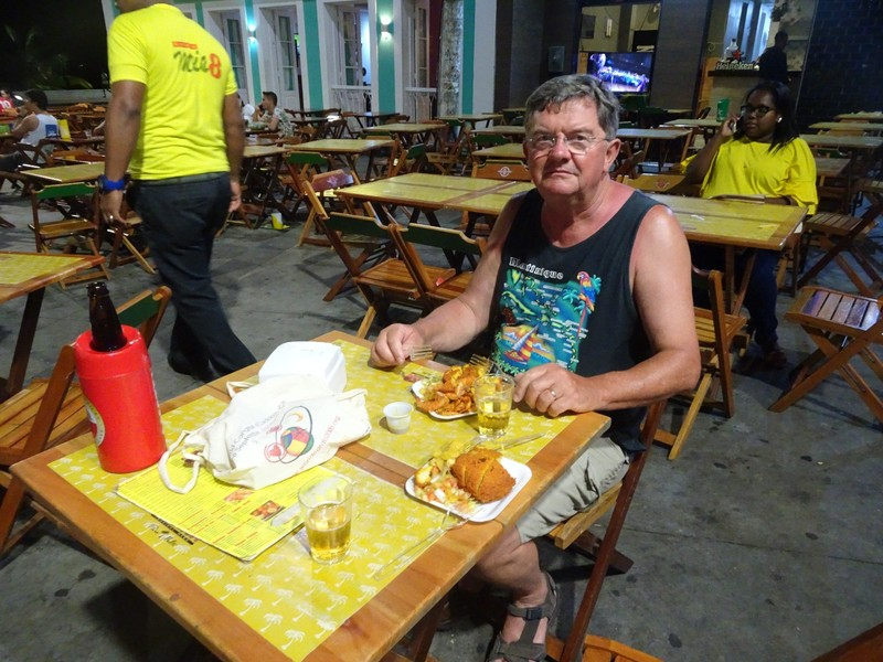 Evening out in Rio Vermelho - Acaraje (Acarajé is made with cooked and mashed black eyed peas seasoned with salt and chopped onions molded into the shape of a large scone and deep-fried in palm oil in a wok-like pan).