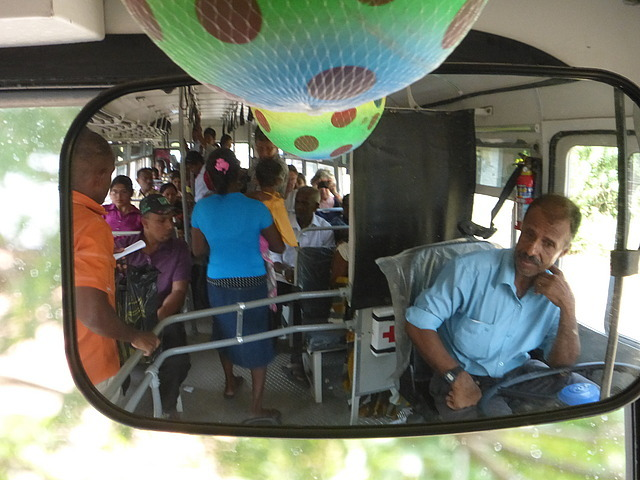 Inside the bus viewed in the mirror