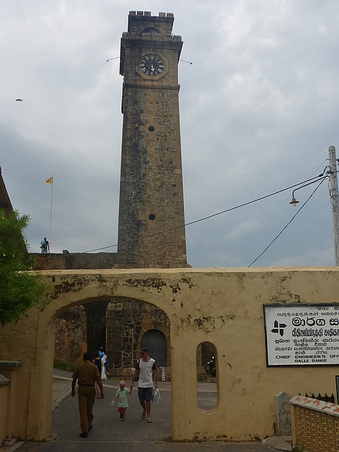 Galle Fort - Clock Tower on ramparts, rain coming!